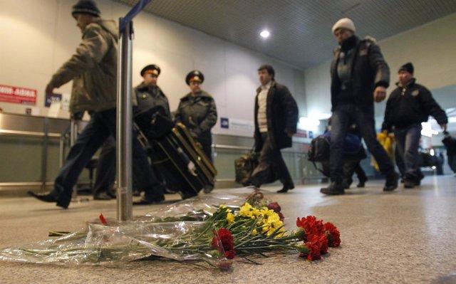 Aeropuerto internacional de Domodedovo en Moscú, tras el atentado terrorista