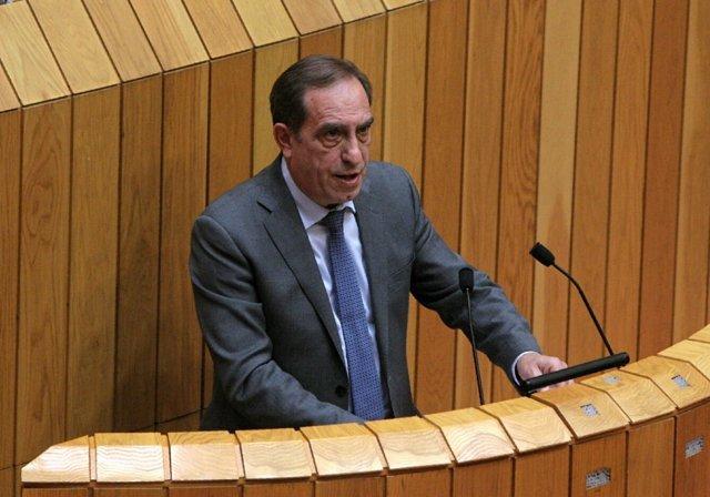 El conselleiro de Facenda, Valeriano Martínez, en el pleno