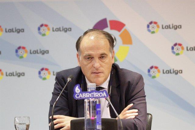 Javier Tebas en rueda de prensa de la asamblea de La Liga