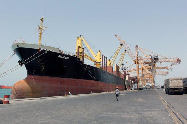 El puerto de Hodeida, en Yemen