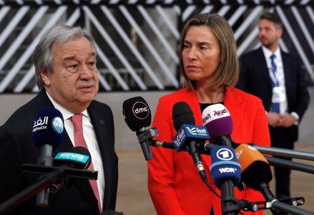 Antonio Guterres y Federica Mogherini