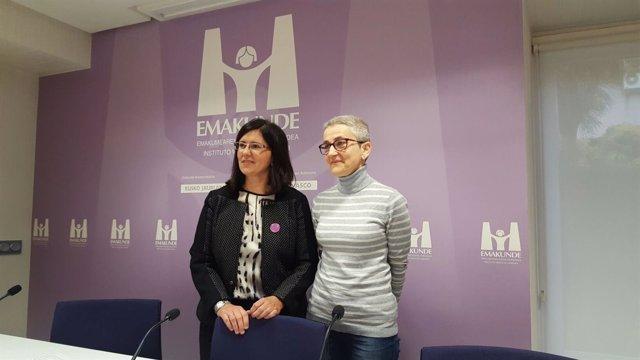 La directora de emakunde con la matemática Marta Macho, premio Igualdad 2016