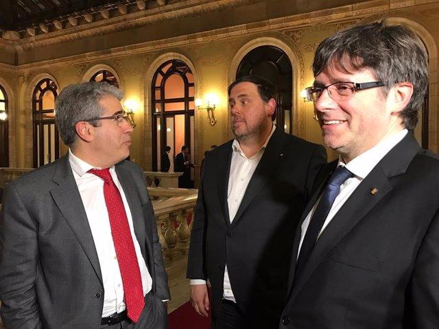 Francesc Homs, Oriol Junqueras y Carles Puigdemont