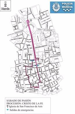 Itinerario procesión Cofradía de la Fe