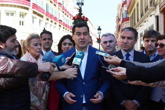 El presidente del PP-A, Juanma Moreno, en Málaga