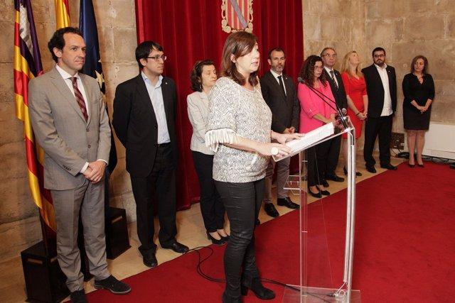 Armengol durante la toma de posesión de Fanny Tur como consellera de Cultura