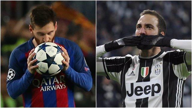Messi (Barcelona) e Higuaín (Juventus)