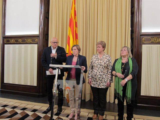 L.Corominas, C.Forcadell, A.Simó, R.Barrufet (de la Mesa del Parlament)