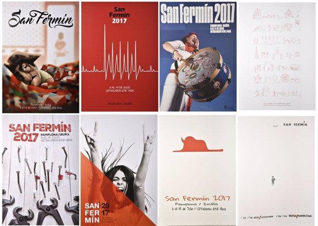 Carteles finalistas del concurso de Sanfermines 2017.