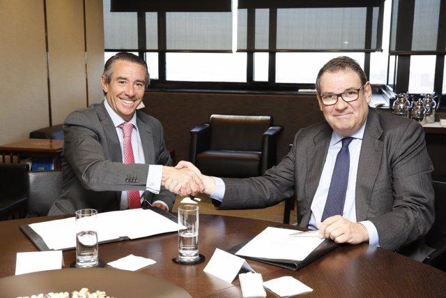 J.A.Alcaraz (CaixaBank) y J.Molas (Cehat)
