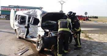 Herido muy grave en un accidente de tráfico en la N-II, en Bujaraloz