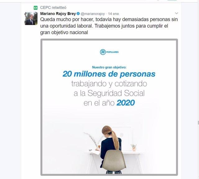 Tuit de Mariano Rajoy retuiteado por el CEPCO