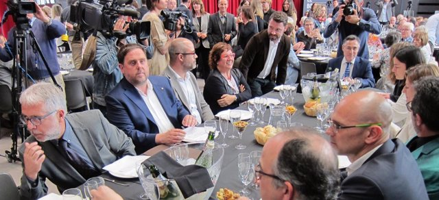 El conseller O.Junqueras en el almuerzo-debate Moment Zero