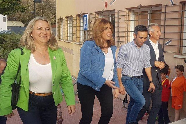 Susana Díaz, a su llegada al acto en Alcalá de Henares