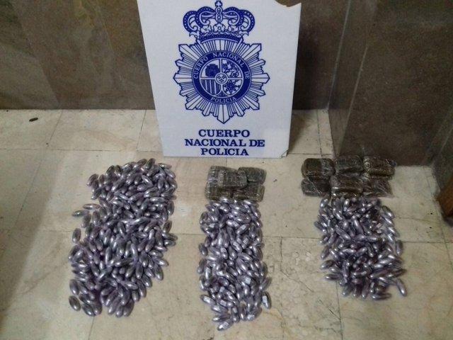 Droga intervenida en Ceuta a tres jóvenes de Córdoba