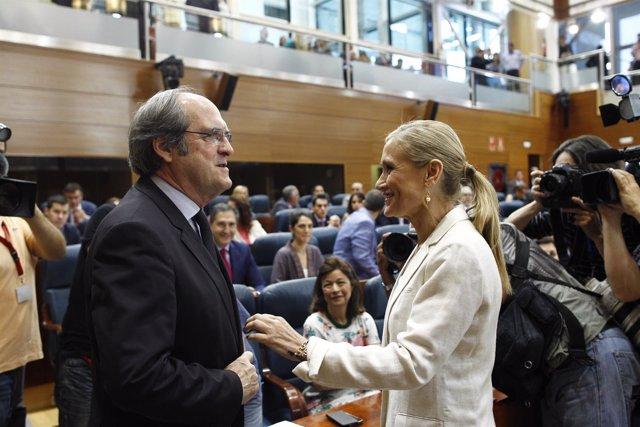 Ángel Gabilondo y Cristina Cifuentes en la Asamblea de Madrid