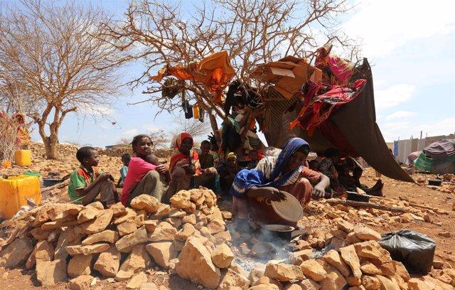 Desplazados internos por la sequía en Somalia