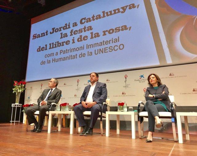 Patrici Tixis, Oriol Junqueras y Soraya Sáenz de Santamaría