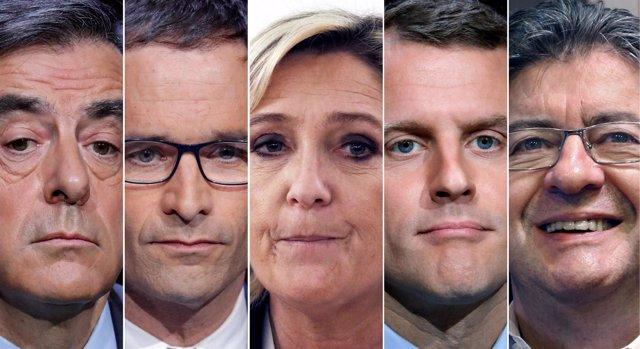 Los cinco candidatos con más opciones en las elecciones en Francia
