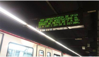 El Metro de Barcelona farà vaga parcial de dues hores en cada torn aquest dilluns