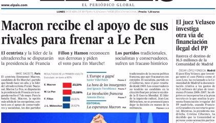 Las portadas de los periódicos de hoy, lunes 24 de abril de 2017