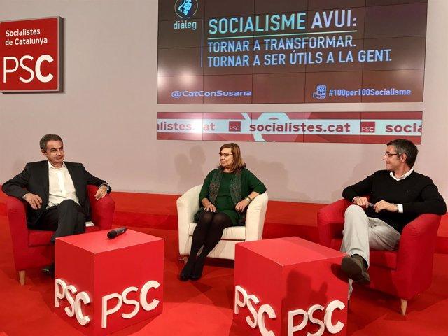 José Luis Rodríguez Zapatero (PSOE), Helena Arribas (PSC) y Eduardo Madina (PSOE