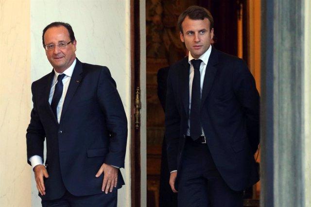 François Hollande y Emmanuel Macron