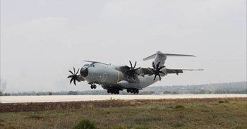 El A400M de la Fuerza Aérea Española llega a Santa Lucía (México) para...