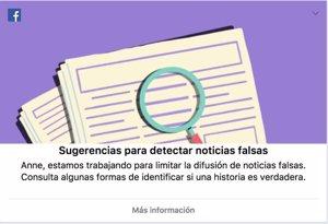 Facebook pone en marcha una campaña entre los usuarios españoles para luchar contra las noticias falsas