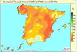 La falta de lluvias acumulada en España desde el 1 de octubre hasta el 7 de noviembre se sitúa en el 53%