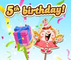 Candy Crush Saga celebra su quinto aniversario con una 'Party Booster' para los jugadores