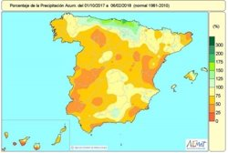 El déficit acumulado de lluvias baja del 30% aunque en grandes áreas de España sigue sin llover ni la mitad de lo normal