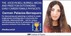 Una joven física española, 'Premio y Medalla Jocelyn Bell Burnell' por el Institute of Physics