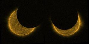 La ESA capta imágenes de dos eclipses parciales del sol en los que parece que la Luna y el Sol son del mismo tamaño