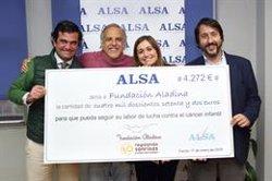 ALSA dona a la Fundación Aladina 4.272 euros para apoyar la lucha contra el cáncer infantil