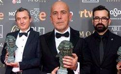 Los técnicos Pablo Perona, Juan Pedro de Gaspar y Josu Incháustegui pronunciaron 'El discurso más corto' de los Goya