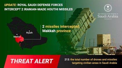 Antiaéreos saudíes interceptan dos misiles huthis en la provincia de La Meca