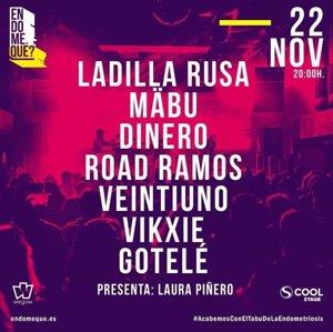 Ladilla Rusa, Mäbu, Veintiuno, Road Ramos o Dinero se unen en 'Endoqué?', un concierto benéfico contra la endometriosis