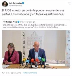 Arrimadas, tras palabras del alcalde de León: