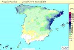 Las lluvias acumuladas desde octubre al 10 de diciembre superan en un 11% el valor normal para este periodo