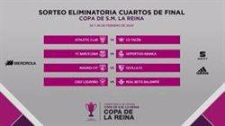 Athletic-Tacón, Barça-Deportivo, Madrid-Sevilla y Logroño-Betis, cuartos de final de la Copa de la Reina
