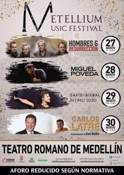 David Bisbal, Hombres G, Miguel Poveda y Carlos Latre actuarán en el Metellium Music Festival de Medellín (Badajoz)