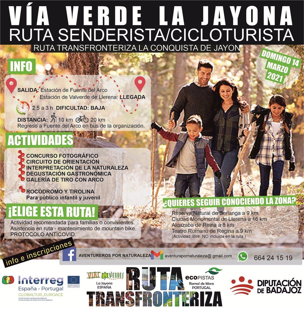 Tres rutas transfronterizas recorren la vía verde de La Jayona y la ecopista del Ramal de Mora - Descubrir